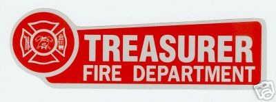 FIRE DEPARTMENT TREASURER Highly Reflective Decal with Maltese Cross