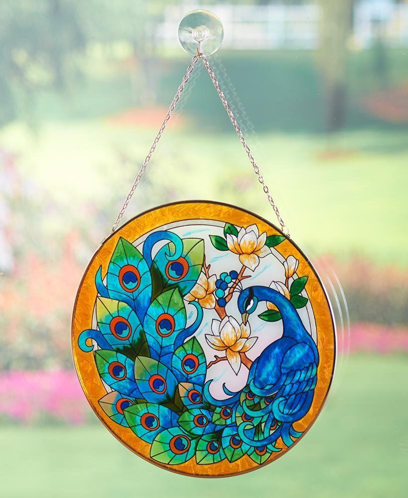 Peacock Painted Glass Sun Catcher Bird Home Decor LS 424436046