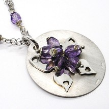 Silver necklace 925, Disk Pendant, Butterfly Overlay Purple balls image 2