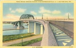 Peace Bridge Crossing Niagara River Between Buffalo N.Y and Fort Erie postcard - $4.77