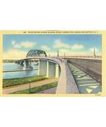 Peace Bridge across Niagara River, Buffalo New York unused linen Postcard  - $4.77