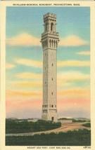 Pilgrim Memorial Monument, Provincetown, Mass 1940s unused linen Postcard  - $3.99