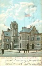 – Post Office and Custom House, Springfield, Mass 1907 used Postcard  - $6.77