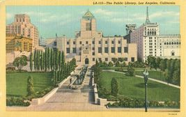 The Public Library, Los Angeles, California, 1930s unused linen Postcard  - $3.99