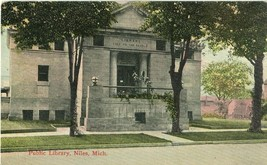 Public Library, Niles Michigan 1922 used Postcard - $5.50
