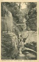 Rainbow Falls and Triple Cascade, Watkins Glen, N.Y. 1931 used Postcard  - $5.77