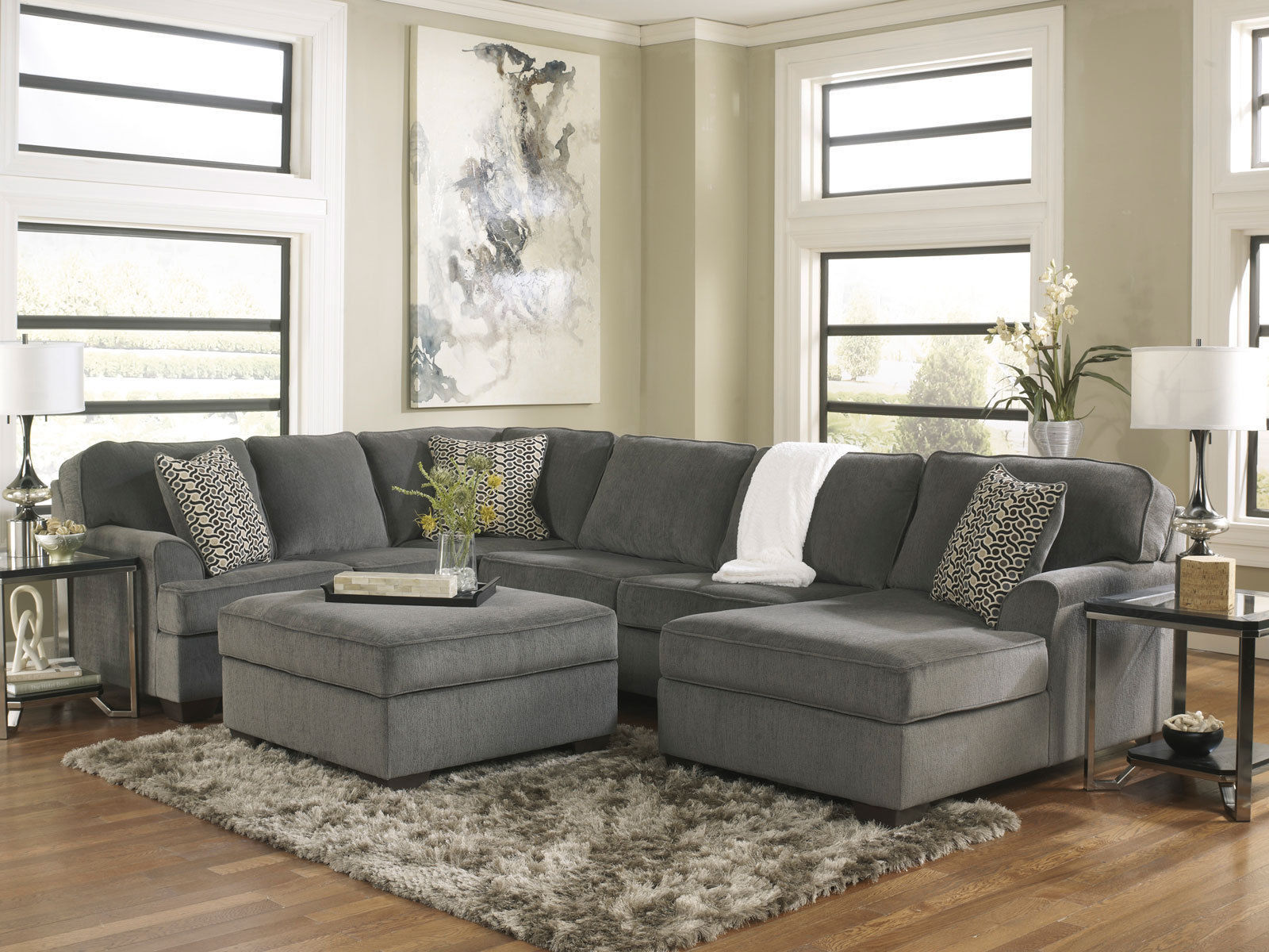 Living Room With Sectional : SOLE-OVERSIZED MODERN GRAY FABRIC SOFA COUCH SECTIONAL SET ...