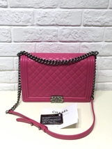 AUTHENTIC CHANEL FUCHSIA PINK QUILTED LAMBSKIN LARGE BOY FLAP BAG RECEIPT RHW