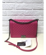AUTHENTIC CHANEL FUCHSIA PINK QUILTED LAMBSKIN LARGE BOY FLAP BAG RECEIP... - $3,999.99