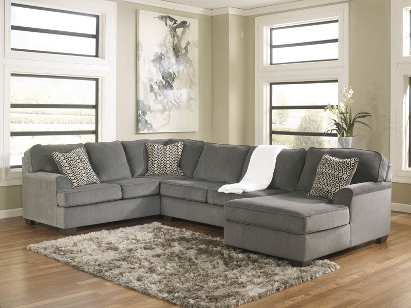 Sole Oversized Modern Gray Fabric Sofa Couch Sectional Set