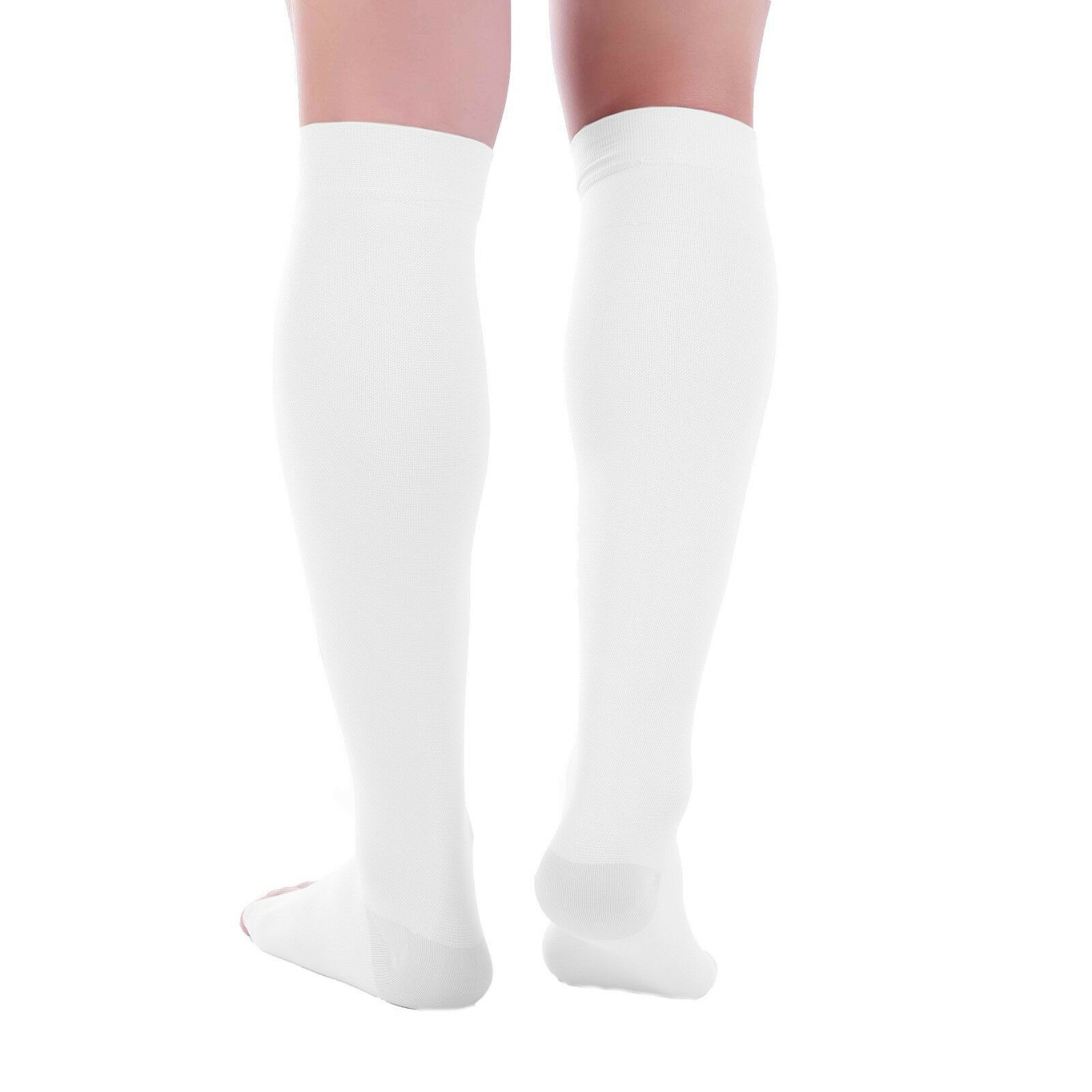 0d7b4d55da Doc Miller Open Toe Compression Socks 20-30 mmHg Recovery Varicose Veins  WHITE