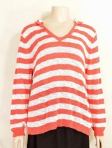 Fresh Produce top XS/S knit long sleeve hoodie orange white stripes 15 - $29.69