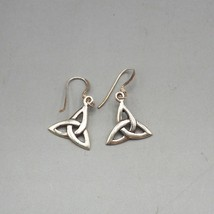 Vintage Sterling Silver .925 Celtic Knot Dangle Earrings 1980's 1990's - $27.71