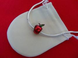 NEW Disney Princess Theme Charm - Snow White's Red Enamel Apple Green CZ + BAG - $11.99