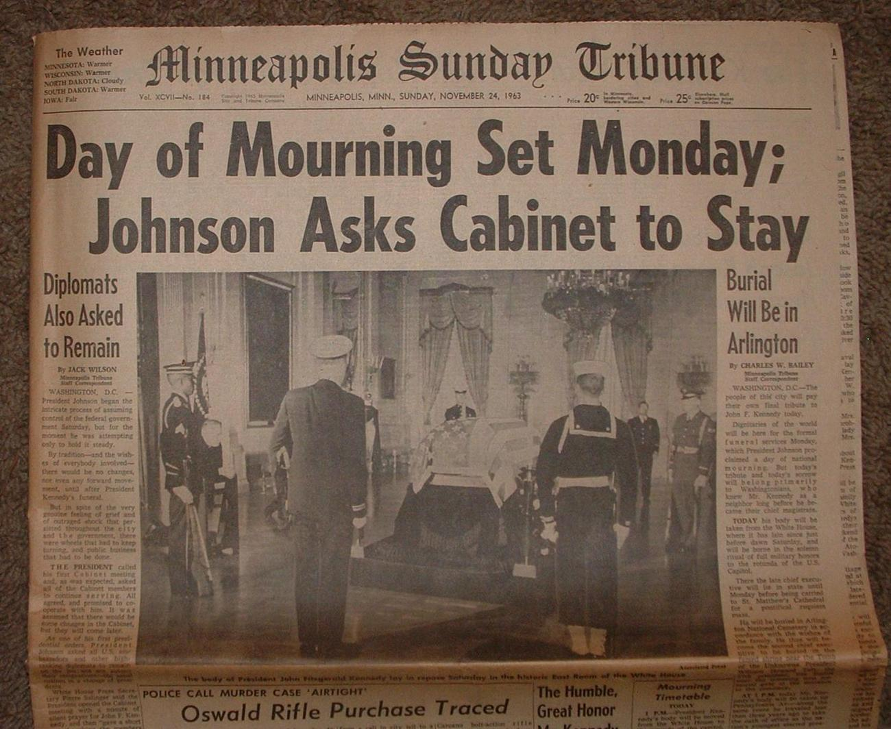 NOVEMBER 24,1963 KENNEDY- DAY OF MOURNING / MPLS SUN TRIBUNE