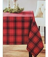 Holiday Time Flannel PlaidBlack And Red Fabric Tablecloth 60x84 New - $17.81