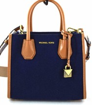 AUTHENTIC NEW NWT MICHAEL KORS MERCER BLUE BROWN MEDIUM MESSENGER BAG - $108.00
