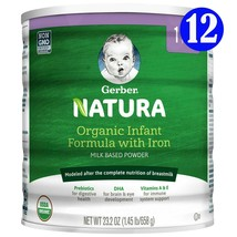 Gerber Natura Organic Powder Infant Formula, Stage 1, 23.2 oz, ( 12 Can ) - $543.99