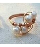 Glass Pearl Copper Handcrafted Wire Wrapped Ring Women - $13.00+