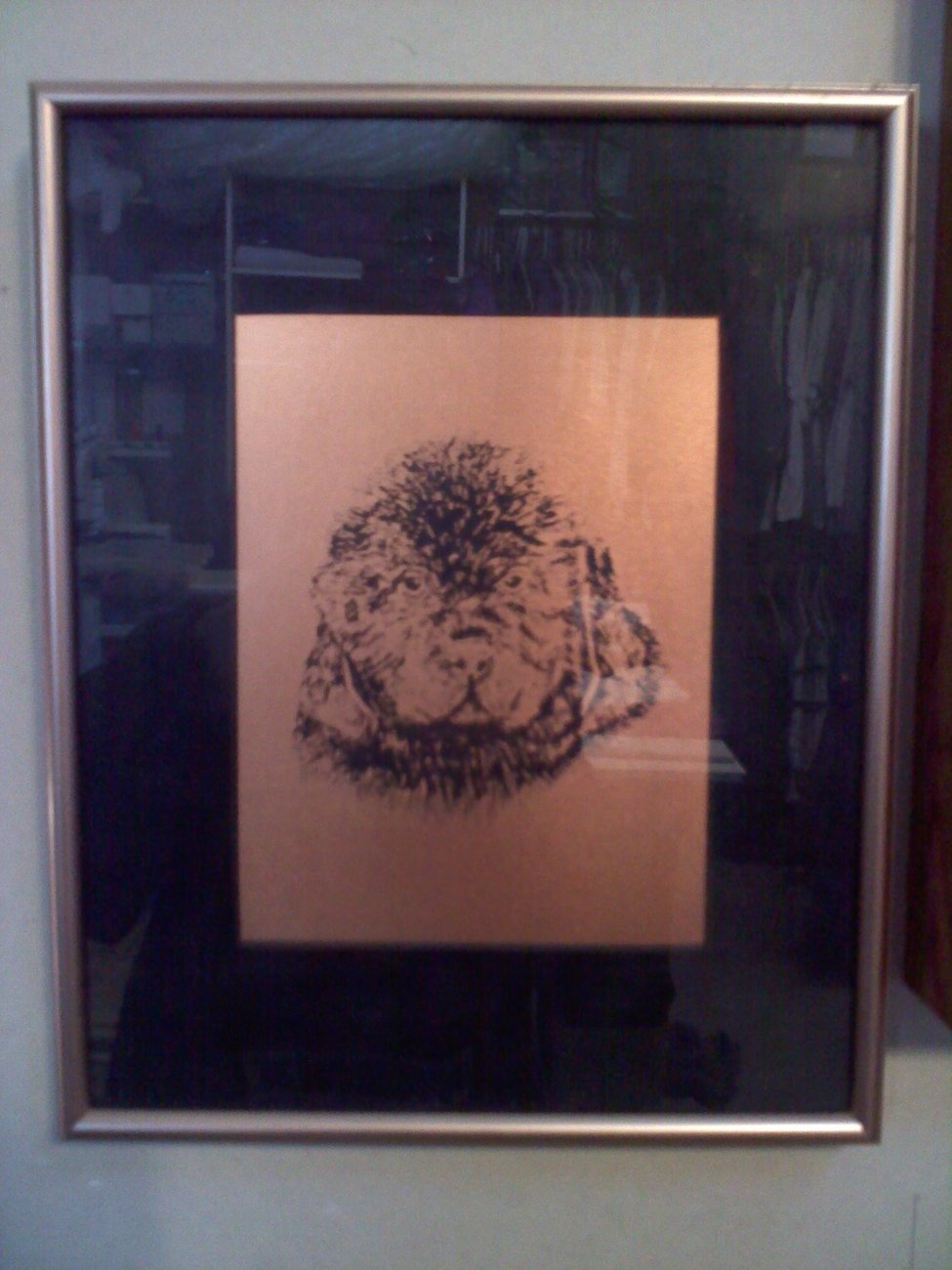 Newfoundland Dog Puppy etched on Copper