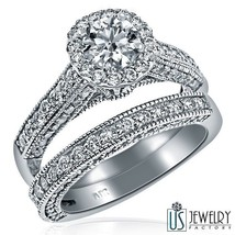 2.59 CARAT (1.04)E-SI2 ROUND CUT ENGAGEMENT RING WEDDING BAND SET 14k Wh... - £4,001.44 GBP