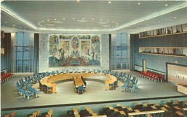 United Nations Security Council Chamber 1950s unused chrome Postcard  - $3.50