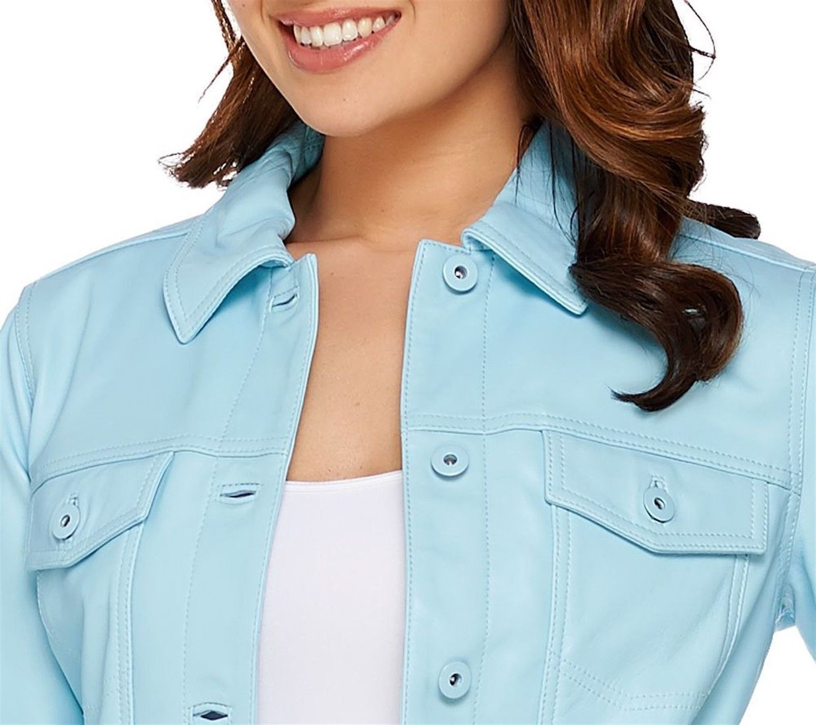 Denim & Co. Lamb Leather Jean Jacket, Light Turquoise, Size XS, MSRP $289