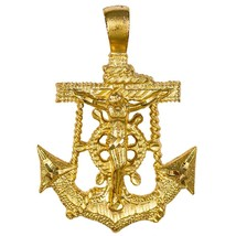 Marine Hope Anchor Crucifix Cross Necklace Gold on Gold Beaded Chain - $11.83