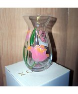 small vase Lenox clear glass hand painted  butterflys - $12.50