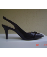 NEW ANNE KLEIN BLACK LEATHER POINTY SLINGBACK PUMPS SIZE 8 M $89 - $37.99