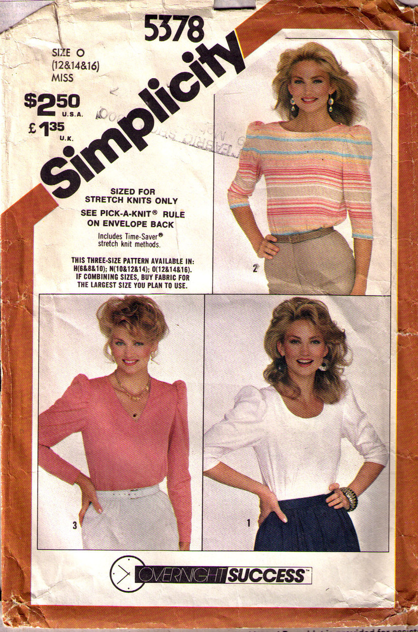 1981 PULLOVER TOPS Pattern 5378-s Size 12 - Complete Simplicity New Look