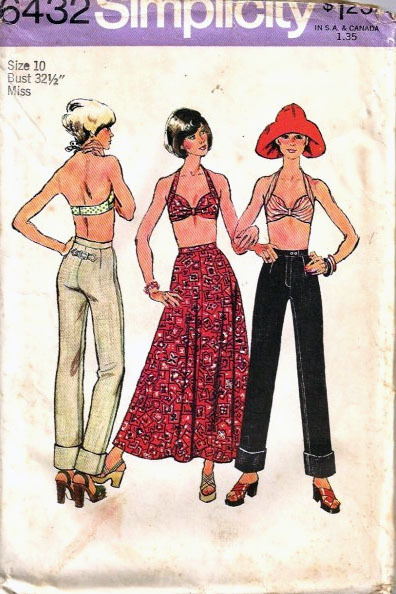 1974 Bra-Skirt-Jeans Pattern 6432-s Size 10 Simplicity New Look