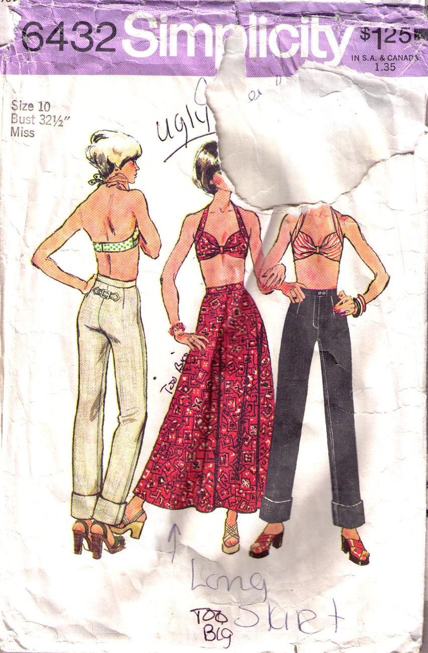 1974 Bra-Skirt-Jeans Pattern 6432-s Size 10 image 2