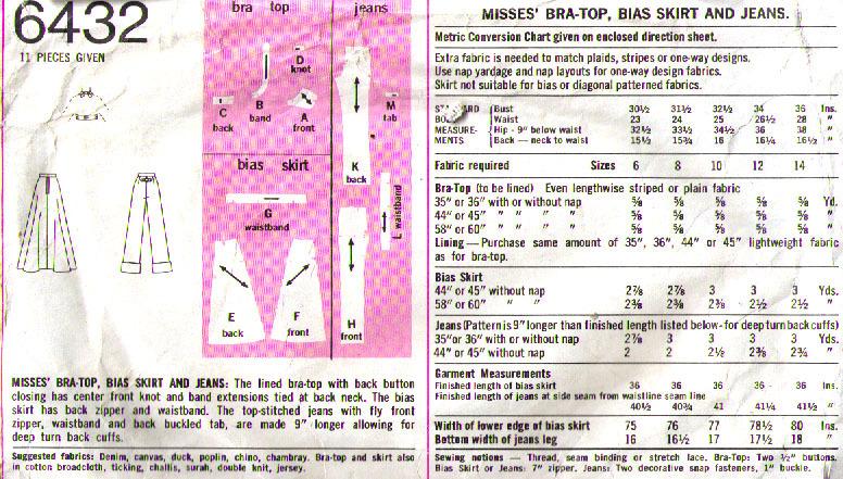 1974 Bra-Skirt-Jeans Pattern 6432-s Size 10 image 3