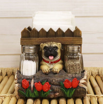 Panting Pug Dog By Fences & Flower Bed Dinner Napkin Salt Pepper Shakers... - $33.99