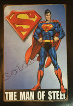 "Superman Man of Steel Comics Wall Metal Sign plate Home decor 11.75"" x 7.8"""