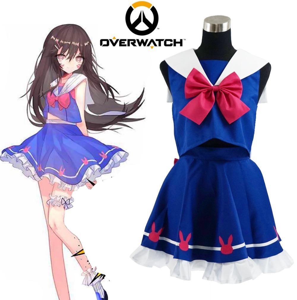 Girl OW Hana Song D.Va Cosplay Costume Blue Sailor School Uniform Dress, used for sale  USA
