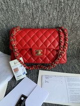 AUTH BNWT CHANEL 2019 RED CAVIAR QUILTED MEDIUM DOUBLE FLAP BAG GHW RECEIPT image 2