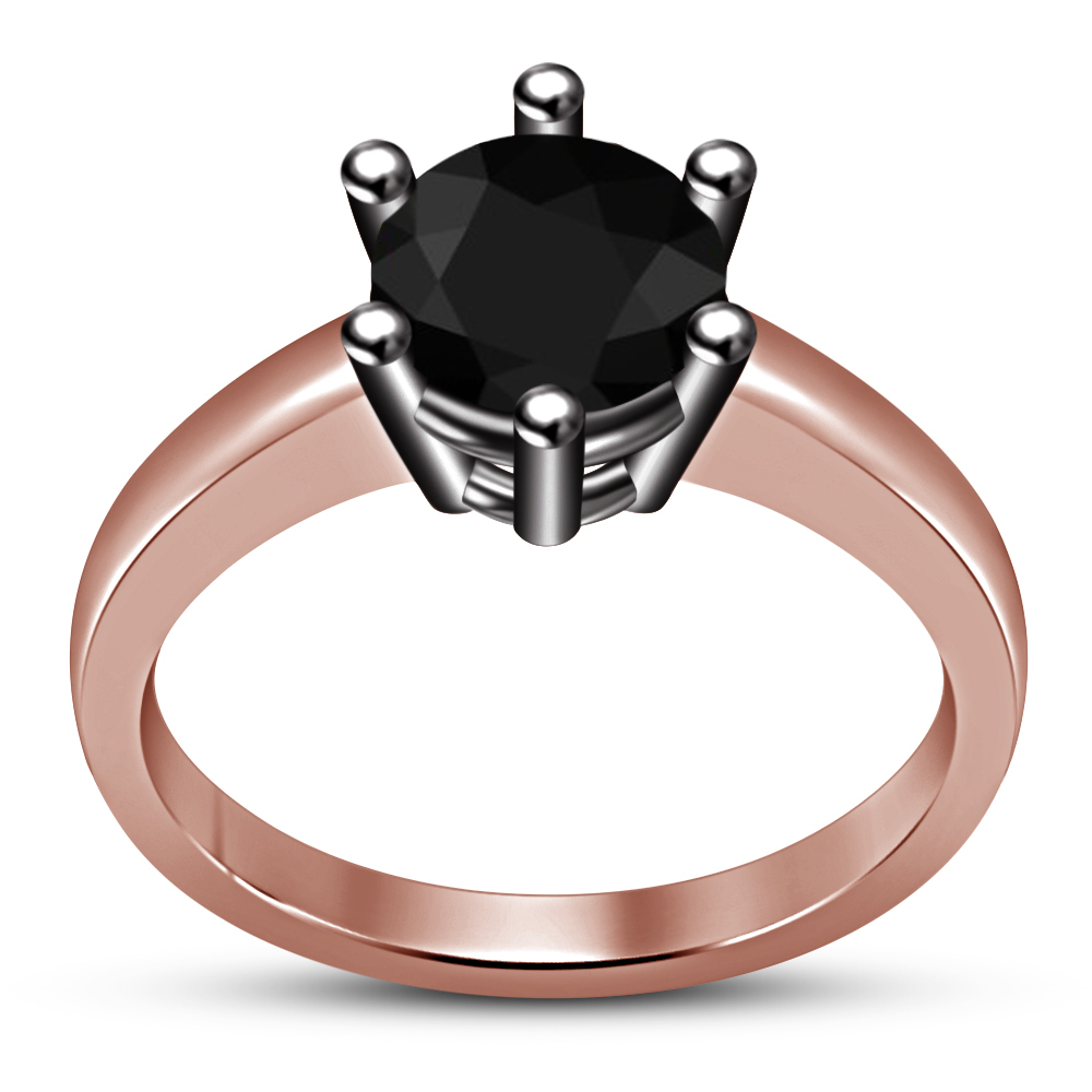 Solid 925 Silver 14k Rose Gold Over Round Cut Black CZ Solitaire Engagement Ring