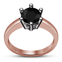 Solid 925 Silver 14k Rose Gold Over Round Cut Black CZ Solitaire Engagem... - $73.99
