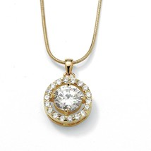 3.24 TCW Cubic Zirconia Pendant Necklace in Yellow Gold Tone - $17.99