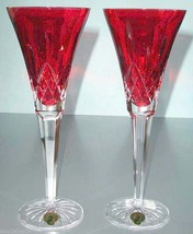 Waterford Lismore Crimson Champagne Flutes Set of 2 Crystal #143815 New ... - $298.90