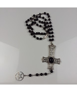 Inverted cross & pentacle beaded rosary - $28.00