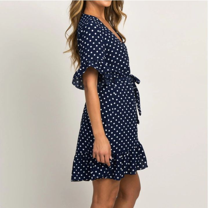 ITCQUALITY WOMEN SUMMER DRESS SEXY DEEPV NECK POLKA DOT BEACH PARTY MINI ITC1382
