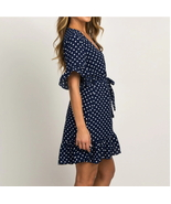 ITCQUALITY WOMEN SUMMER DRESS SEXY DEEPV NECK POLKA DOT BEACH PARTY MINI... - $45.00