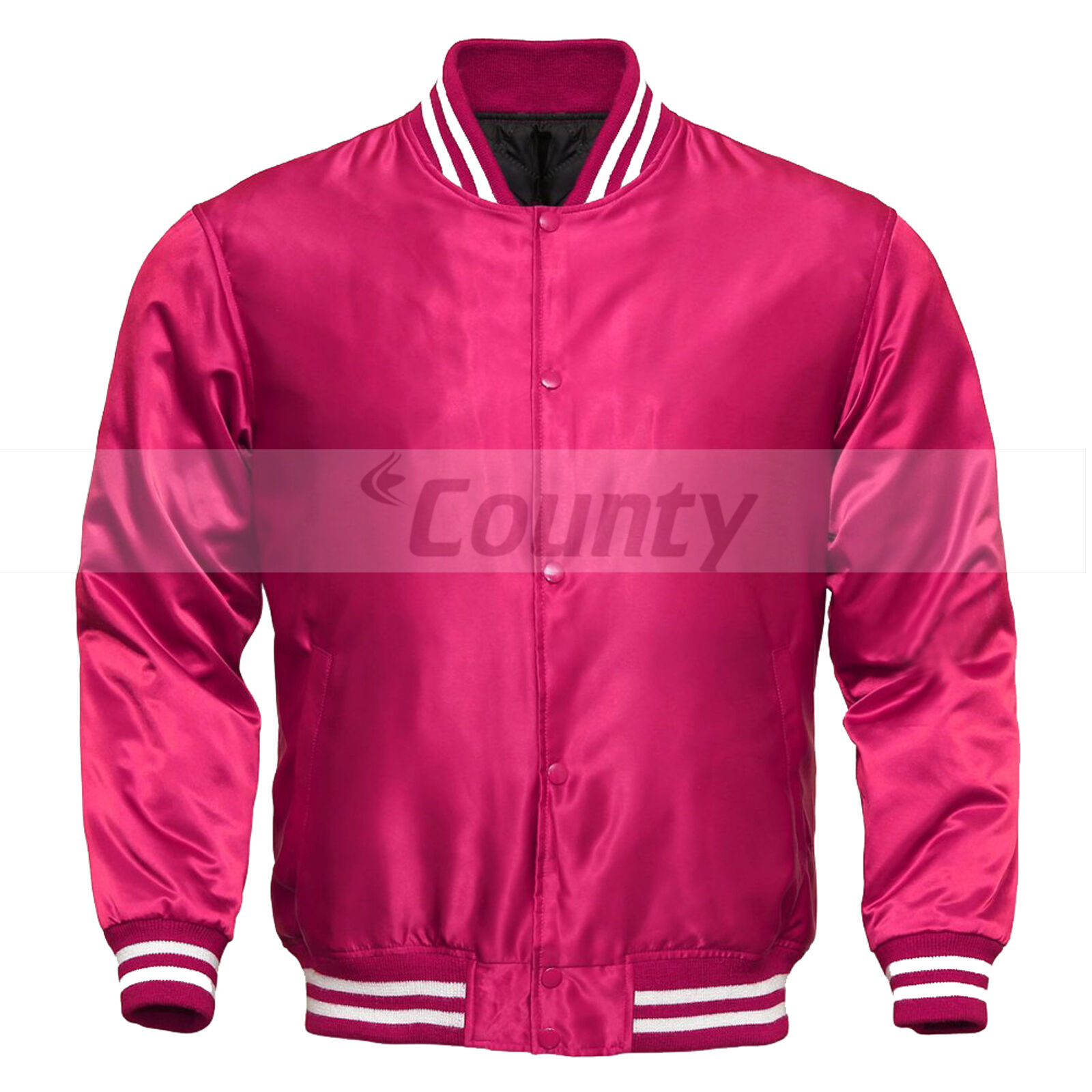 Primary image for New Letterman Baseball College Varsity Bomber Sports Wear Jacket Hot Pink Satin