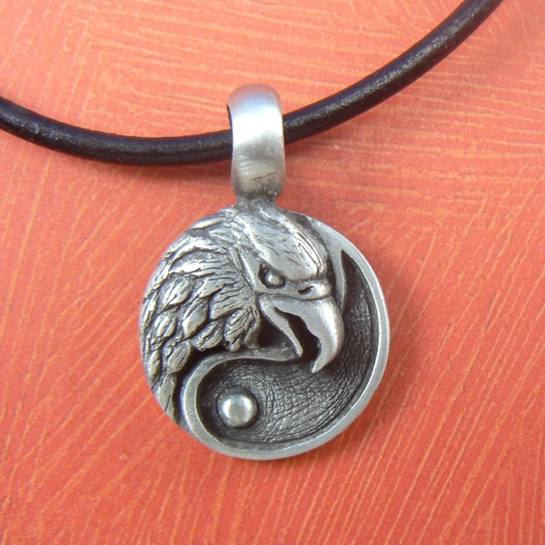 Primary image for American Eagle Coin Yin Yang Pewter Silver Toned Pendant / Necklace
