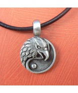 American Eagle Coin Yin Yang Pewter Silver Toned Pendant / Necklace - $14.99