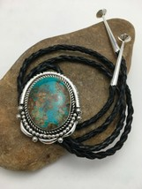 Native American Sterling Silver Navajo Kingman Turquoise Bolo Tie Yazzie... - $1,041.08
