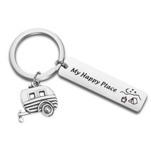 QIIER Camp Keychain My Happy Place Camping Keychain Camp Jewelry RV Camp... - $27.99